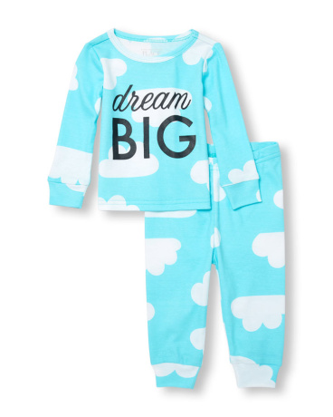 Baby And Toddler Girls Long Sleeve 'Dream Big' Cloud Printed Top And Pants PJ Set