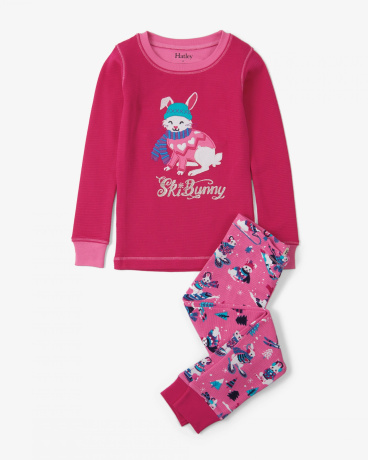 Winter Sports Bunnies Appliqué Organic Cotton Pajama Set