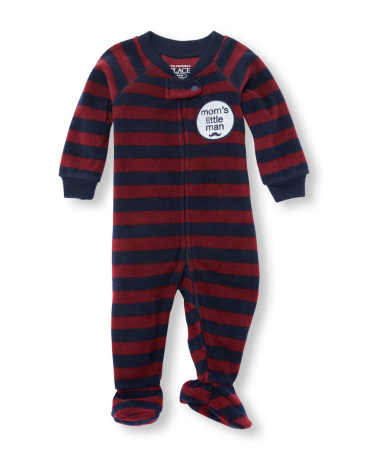 Baby And Toddler Boys Long Sleeve 'Mom's Little Man' Striped Footed Blanket Sleeper