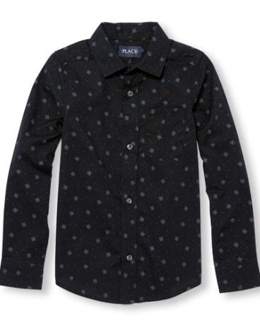 Boys Long Sleeve Printed Poplin Button-Down Shirt