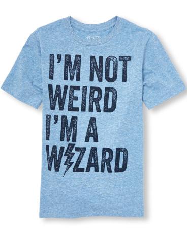 Boys Short Sleeve 'I'm Not Weird I'm A Wizard' Graphic Tee