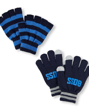 Boys 'Boss' Texting And Striped Fingerless Gloves 2-Pack