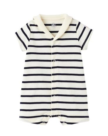 Baby striped open collar romper