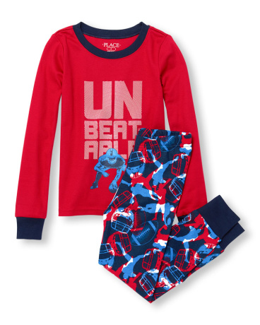 Boys Long Sleeve 'Unbeatable' Top And Football Print Pants PJ Set
