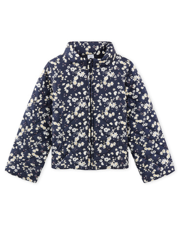 Girl's lined and printed short padded jacket