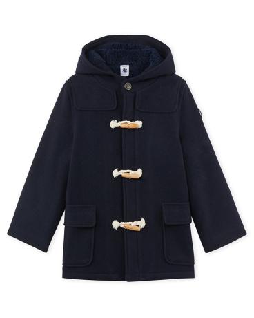 Boy's lined duffel coat in wool broadcloth