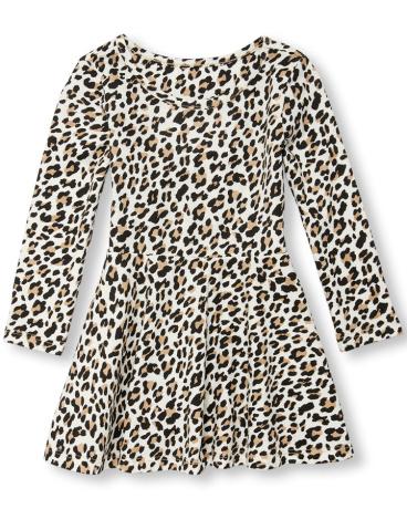 Toddler Girls Long Sleeve Leopard Print Cutout Heart Knit Dress