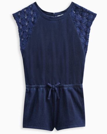 Girl Indigo Brushed French Terry Romper with Lace