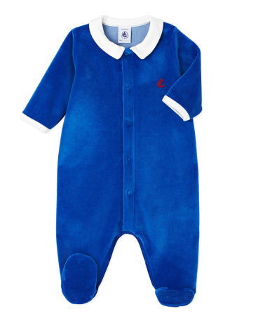 Baby boy's terry velour sleeper