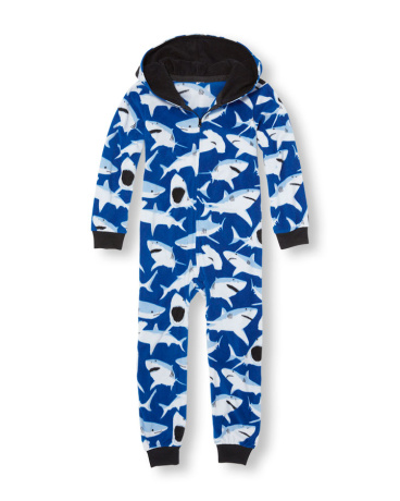 Boys Long Sleeve Shark Print Hooded One-Piece Sleeper
