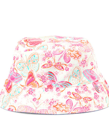 Baby Girls Reversible Butterfly Chambray Bucket Hat
