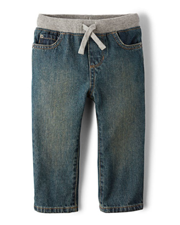 Toddler Boys Pull-On Straight Jeans - Aged Stone Wash