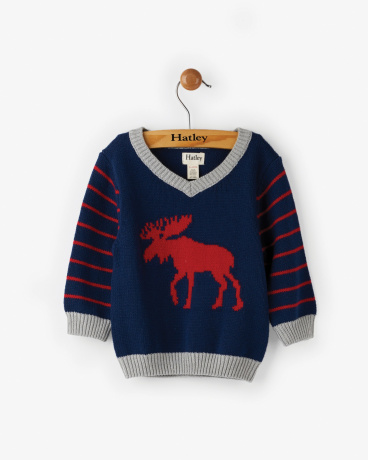 Classic Moose Baby V-Neck Sweater