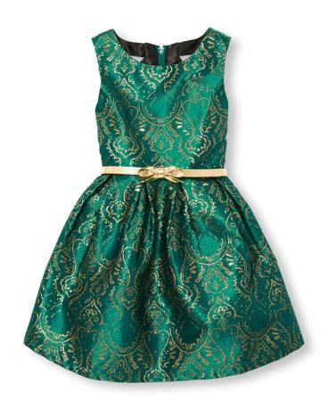 Girls Sleeveless Belted Jacquard Woven Dress