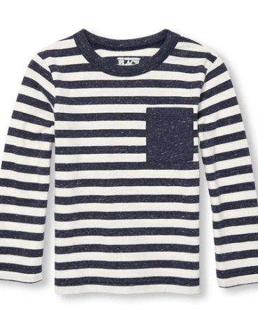 Toddler Boys Long Sleeve Striped Pocket Top