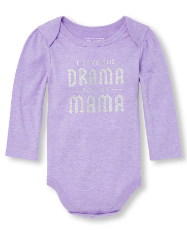 Baby Girls Long Sleeve Glitter 'I Save The Drama For My Mama' Graphic Bodysuit
