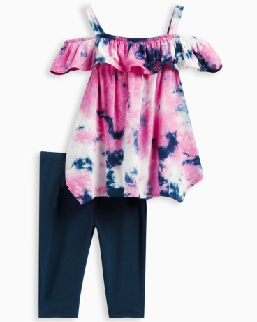 Baby Girl Allover Tie Dye Voile Top Set