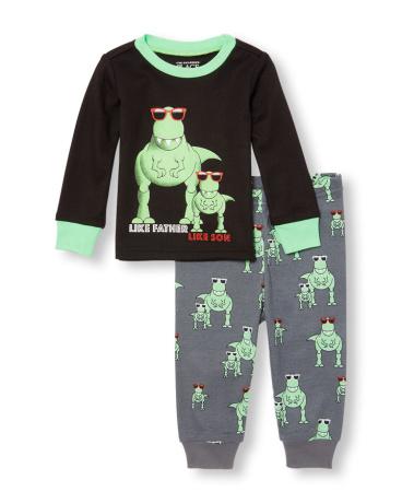 Baby And Toddler Boys Long Sleeve 'Like Father Like Son' Dino Graphic Top And Printed Pants PJ Set