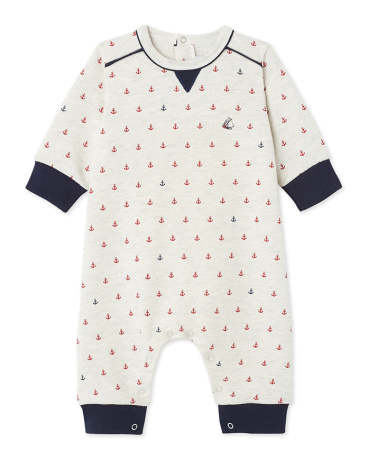 Baby boy's jumpsuit in printed fleece
