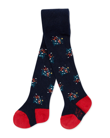 Baby girl's floral motif tights