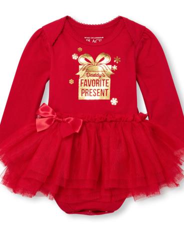 Baby Girls Long Sleeve Foil 'Daddy's Favorite Present' Tutu Bodysuit