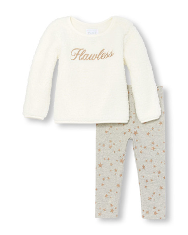 Toddler Girls Long Sleeve 'Fabulous' Faux Sherpa Top And Glitter Star Print Leggings Set