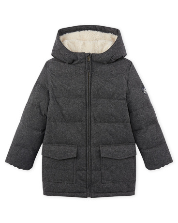 Boy's padded jacket in water-resistant flannel