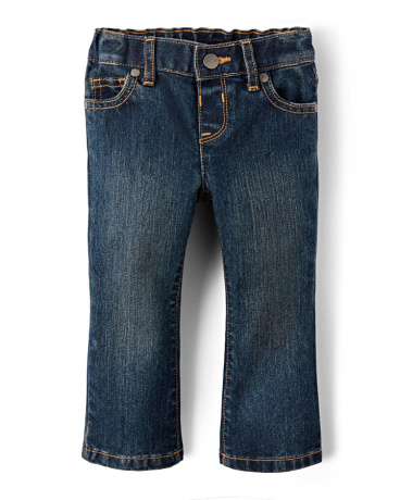 Baby And Toddler Girls Basic Bootcut Jeans - China Blue Wash