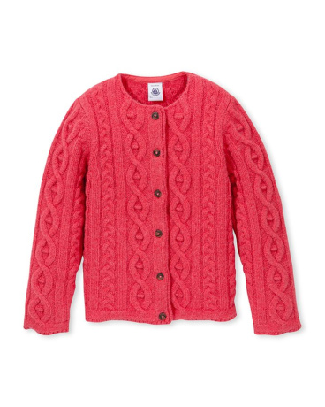 Girl's cable-knit cardigan in wool and cotton