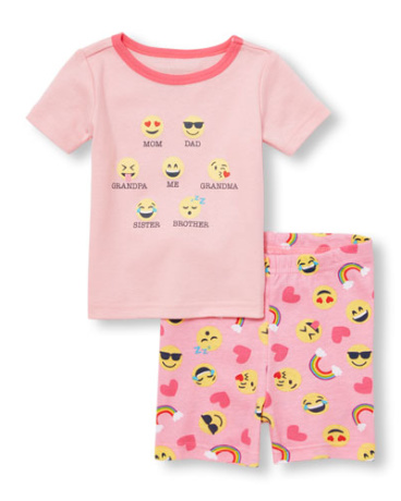 Baby And Toddler Girls Short Sleeve Emoji Family Top And Emoji Print Pants PJ Set