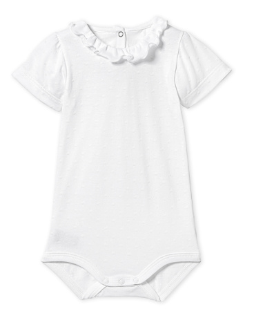 Baby girl bodysuit with flocked polka dots