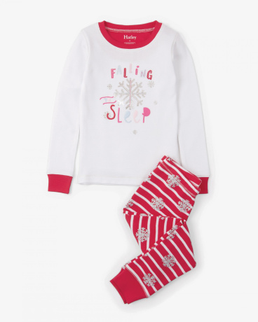 Candy Cane Appliqué Henley Organic Cotton Pajama Set