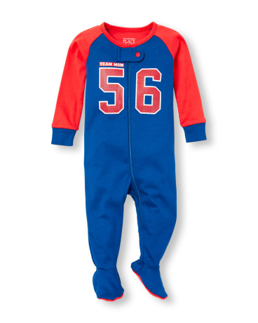 Baby And Toddler Boys Long Sleeve 'Team Mom 56' Jersey Stretchie