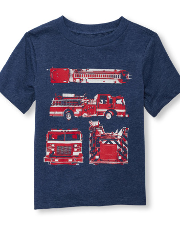 Toddler Boys Short Sleeve Firetruck Diagram Graphic Tee