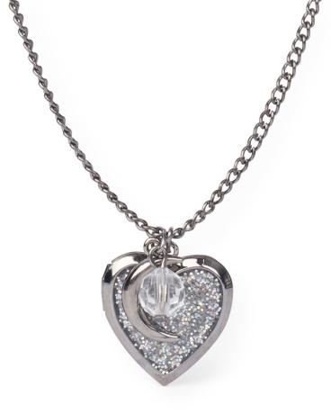 Girls Moon Glitter Heart Locket Necklace