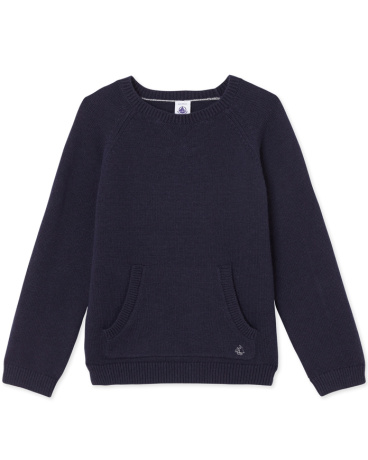 Boys' wool and cotton knit sweater