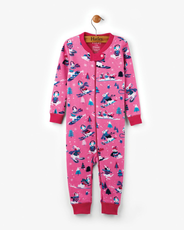 Winter Sports Bunnies Organic Cotton Baby Waffle Coverall