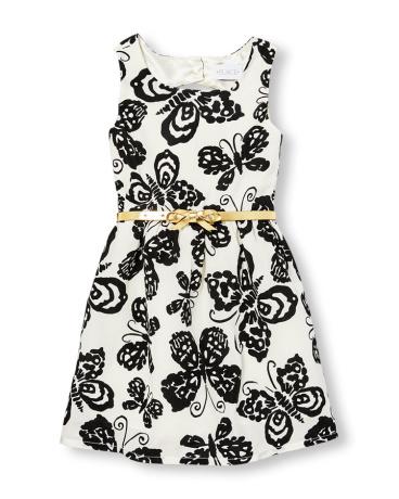 Girls Sleeveless Belted Butterfly Print Cutout Back Woven Dress