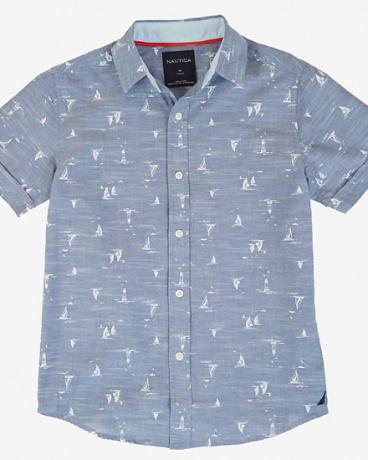 Boys' Chambray Allover Sailboat Shirt