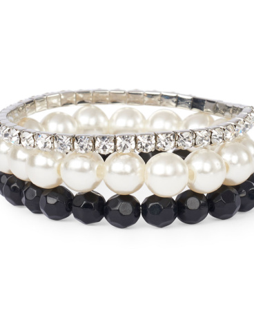 Girls Pearl And Rhinestud Beaded Bracelet 3-Pack