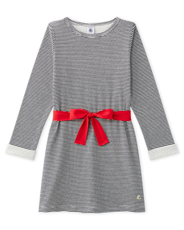 Girl's milleraies-striped double knit dress