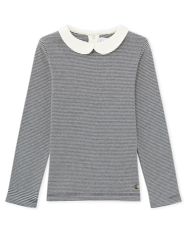 Girls' long-sleeved ribbed T-shirt