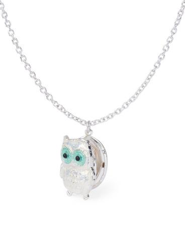 Girls Glitter Owl Locket Necklace
