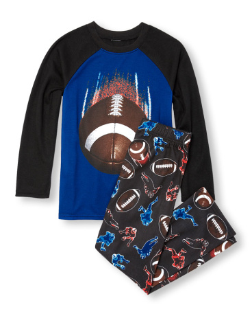 Boys Long Raglan Sleeve Football Top And Printed Pants PJ Set