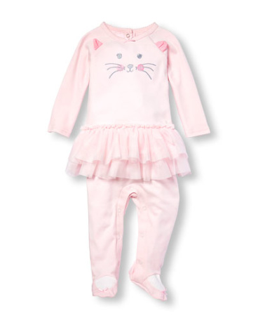 Baby Girls Layette Long Sleeve Embroidered Cat Tutu Coveralls