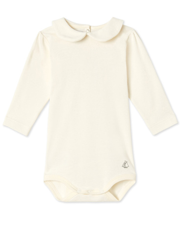 Baby girl's bodysuit with Peter Pan collar