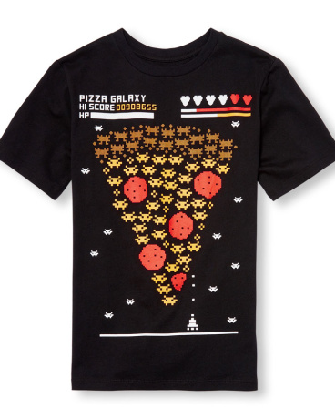 Boys Short Sleeve Pizza Galaxy Video Game Graphic Tee