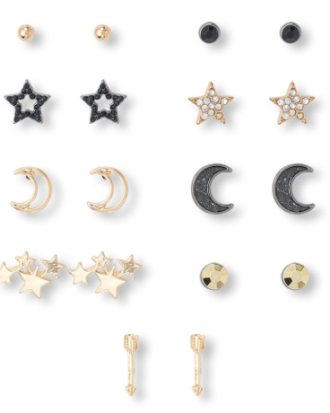 Girls Moon And Star Earrings 9-Pack