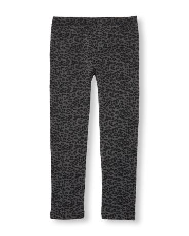 Girls Leopard Print Fleece-Lined Leggings