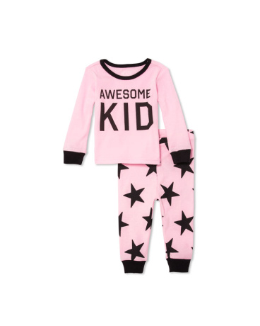 Toddler Girls Long Sleeve 'Awesome Kid' Top And Star Print Pants PJ Set